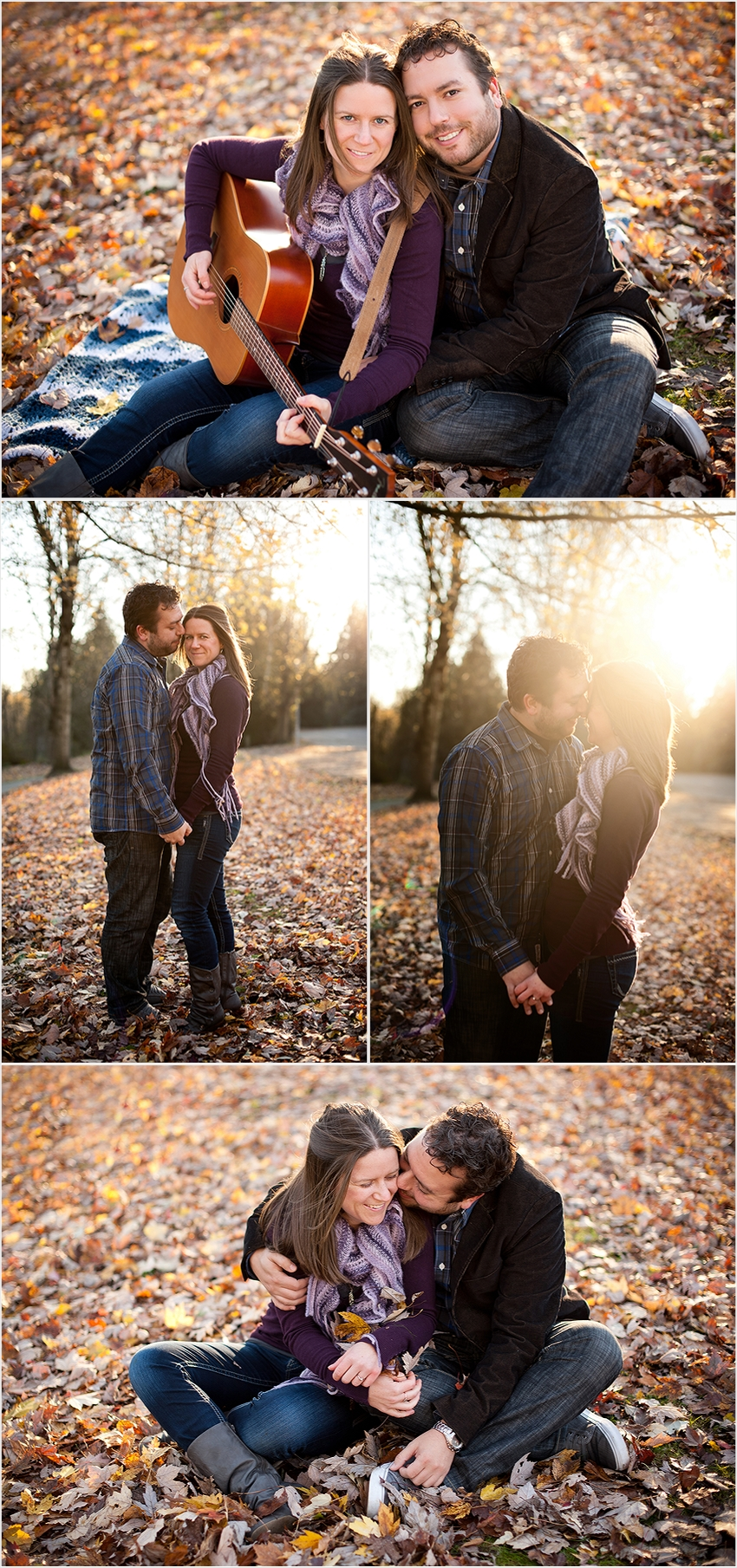 Bryan and Angela engagement photos falling autumn leaves